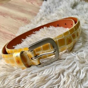 Banana republic yellow snakeskin leather belt 34